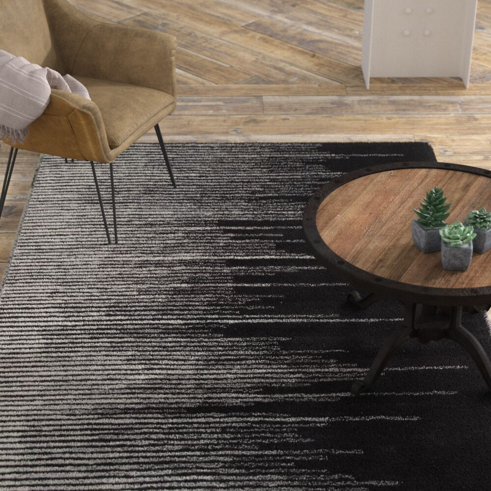 Brittanie Hand-Tufted Black/Gray Area Rug Rug Size: Rectangle 9' x 12'