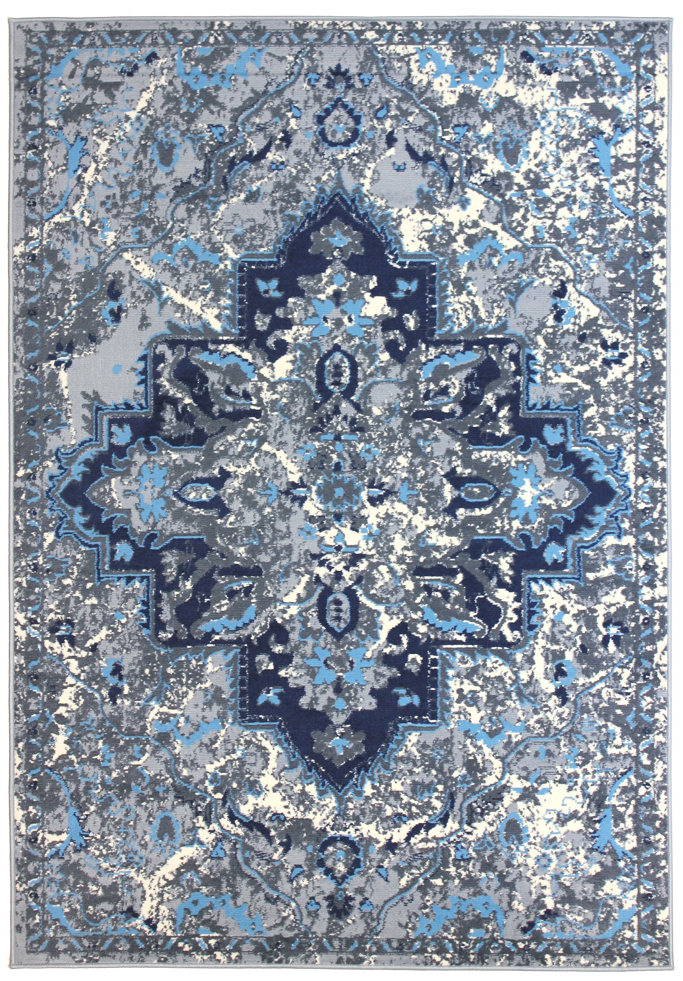 Bowden Blue/Gray Area Rug Rug Size: Rectangle 8' x 10'