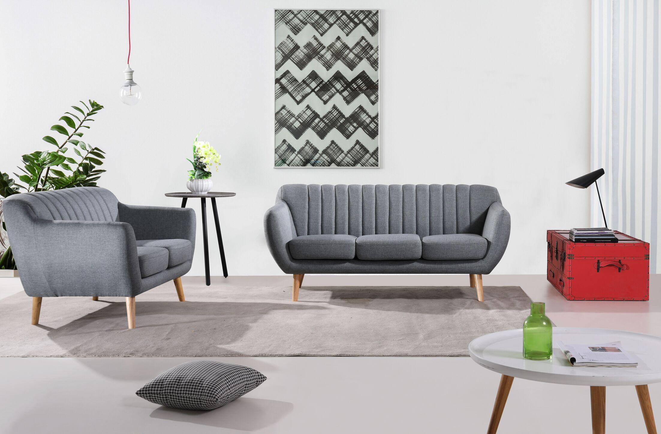 Jon 2 Piece Living Room Set (Set of 2) Upholstery: Dark Gray