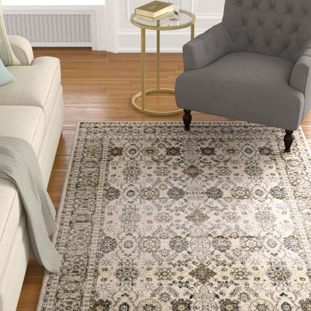 Ruffner Beige/Charcoal Area Rug Rug Size: Rectangle 7.8' x 10'