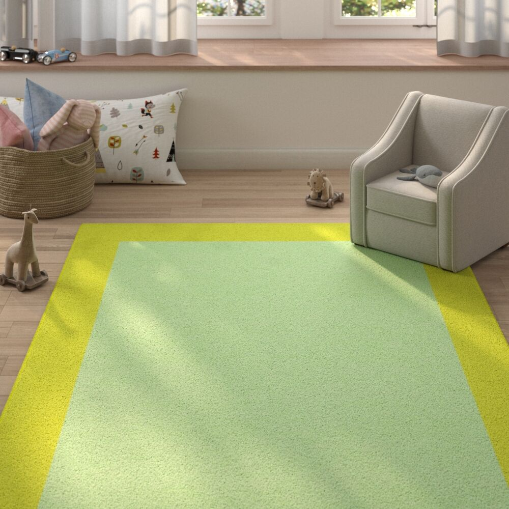 Degen Hand Tufted Wool Lime Green/Green Area Rug Rug Size: 9' x 12'