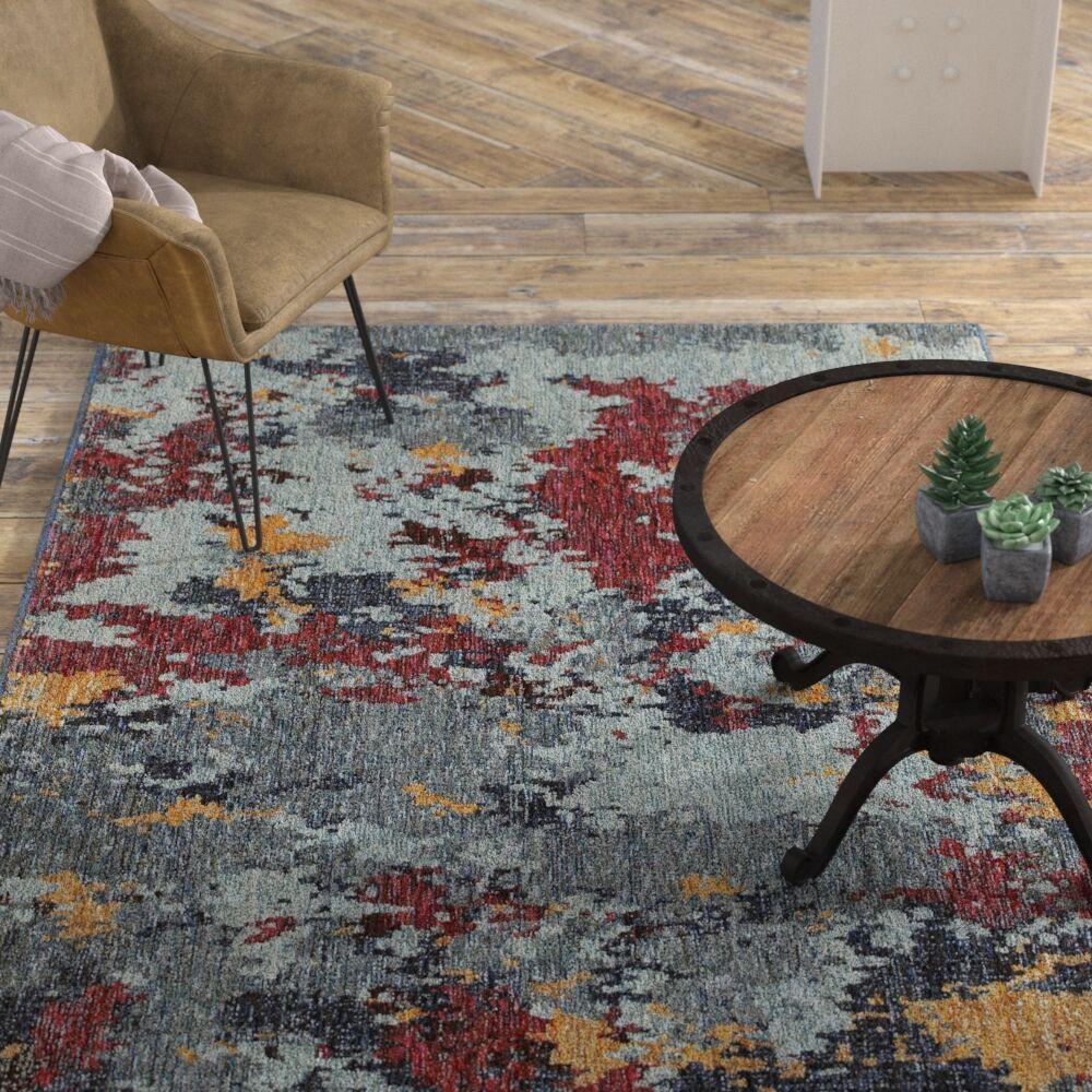 Knox Aged Stone Blue/Red Area Rug Rug Size: Rectangle 8'6