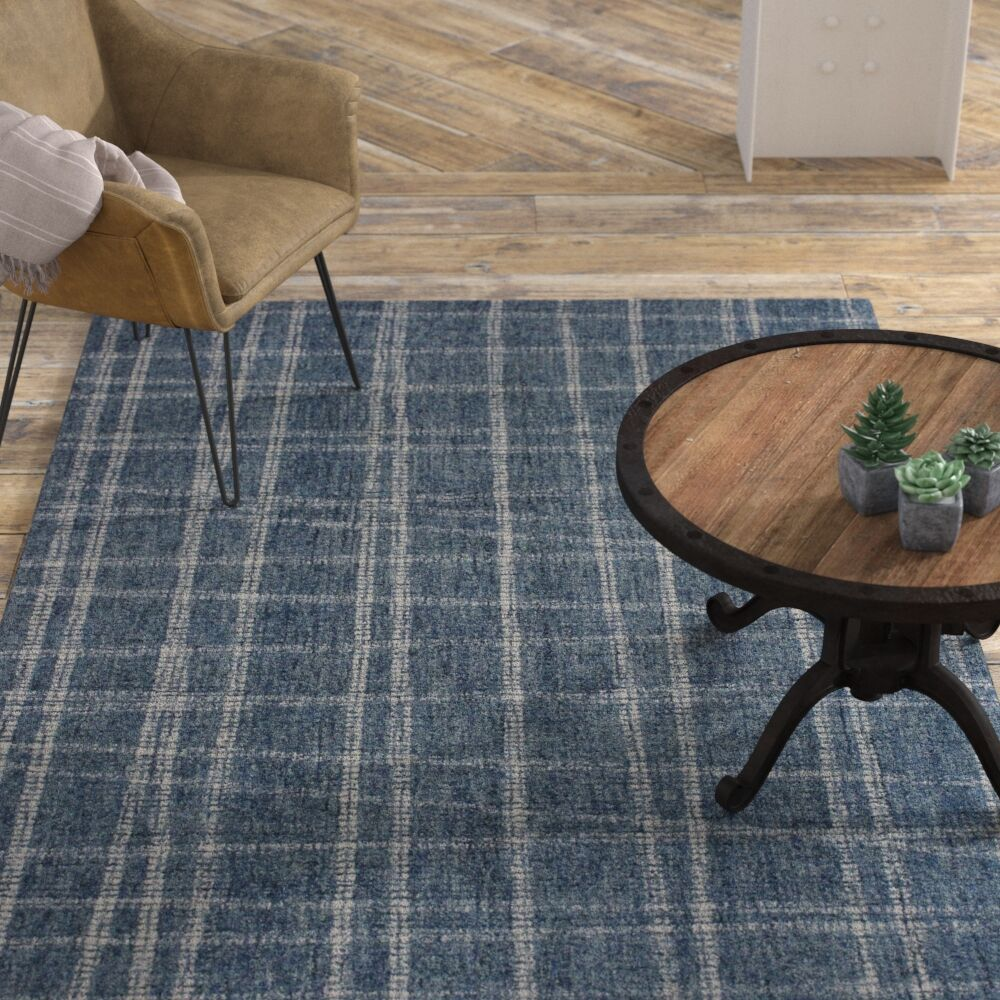 Gritton Plaid Hand-Woven Wool Blue Area Rug Rug Size: Runner 2' x 7'5