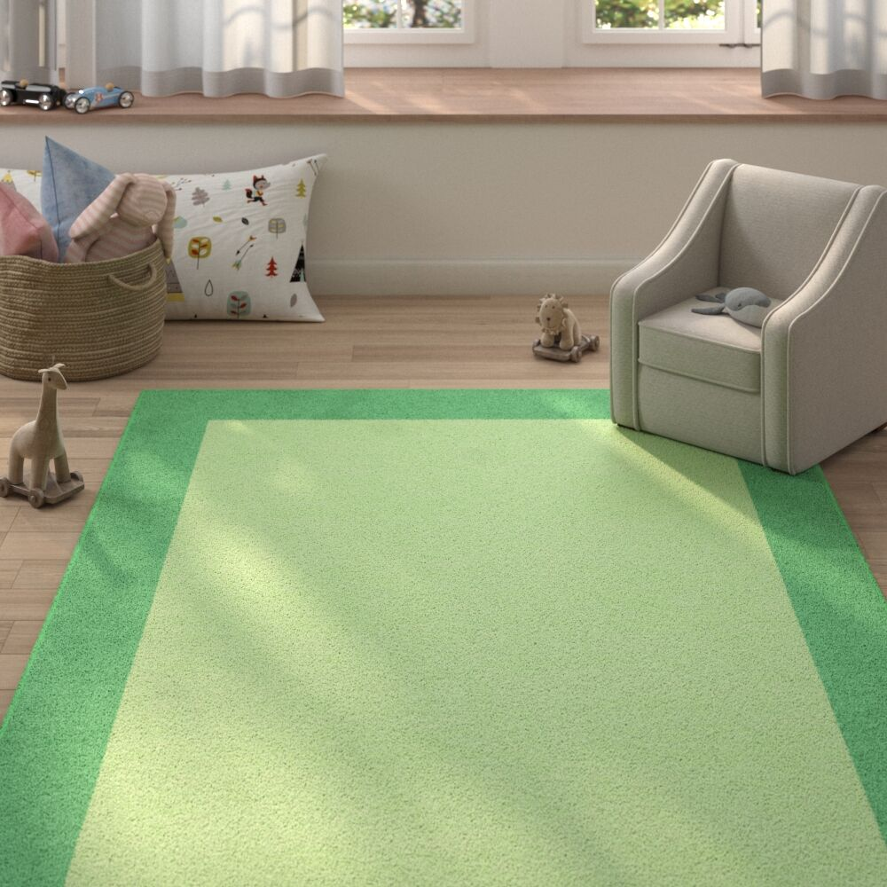 Highlands Hand-Tufted Wool Sea Green/Green Area Rug Rug Size: Rectangle 6' X 9'