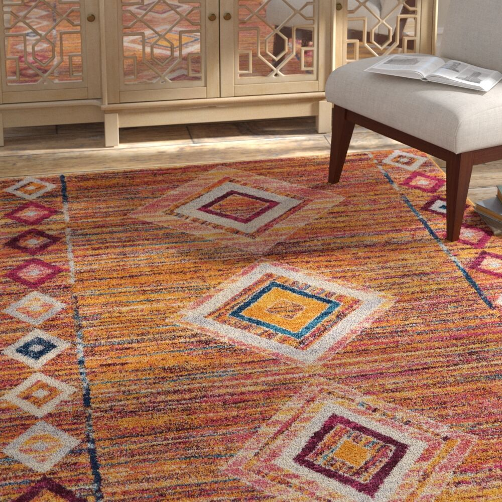 Redus Moroccan Distressed Yellow/Pink Area Rug Rug Size: Rectangle 5'3