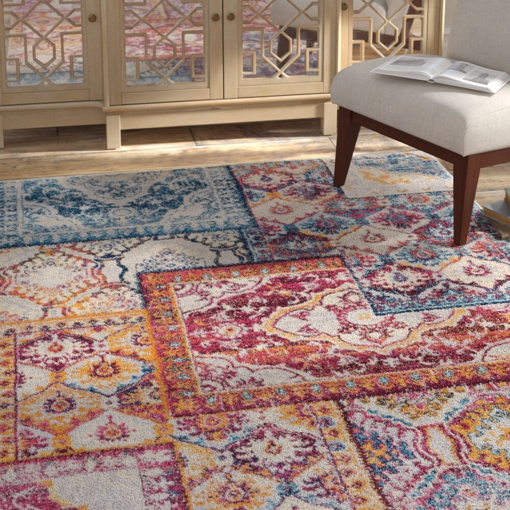 Redus Patch Work Ogee Tile Work Blue/Orange Area Rug Rug Size: Rectangle 5'3