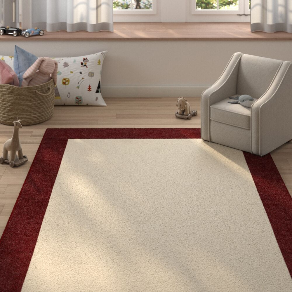 Godsey Hand-Tufted Red Wine Pink Border Rug 5' X 8' Rug Size: Rectangle 9' x 12'
