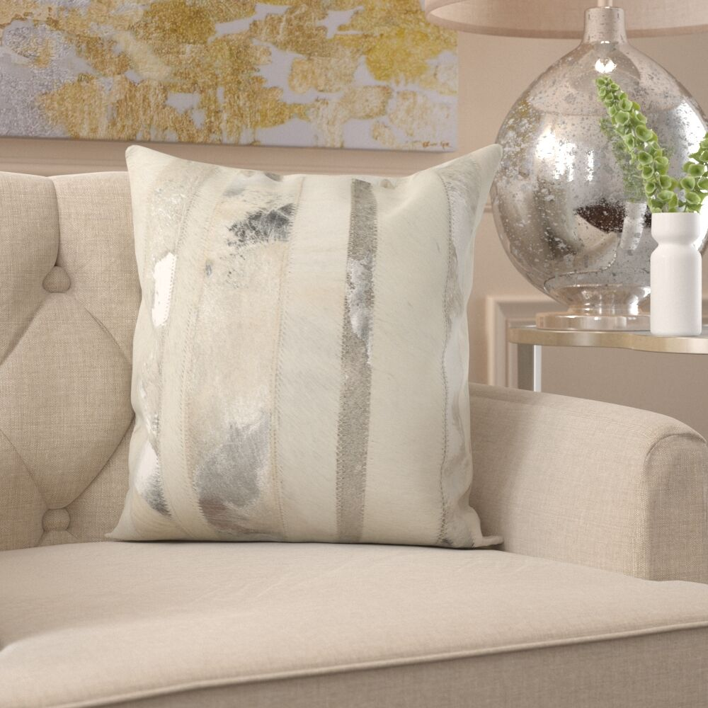 Braelyn 100% Cotton Throw Pillow Color: Silver, Size: 22