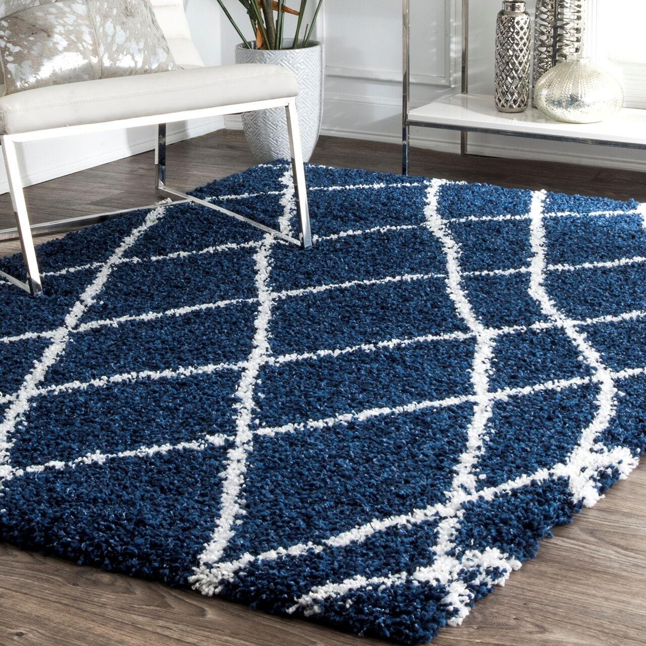 Hackett Blue Area Rug Rug Size: Rectangle 6'7'' x 9'