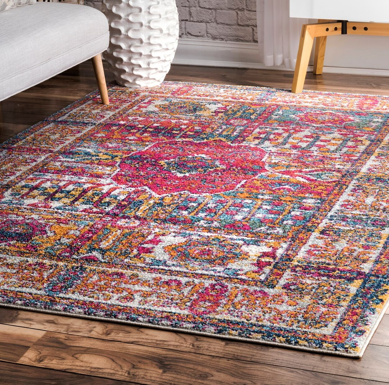 Neville Pink Area Rug Rug Size: Rectangle 8' x 10'