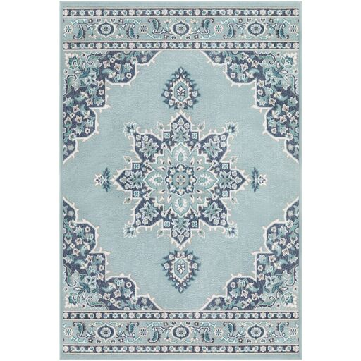 Hsieh Floral Charcoal/Aqua Indoor/Outdoor Area Rug Rug Size: Rectangle 3'6