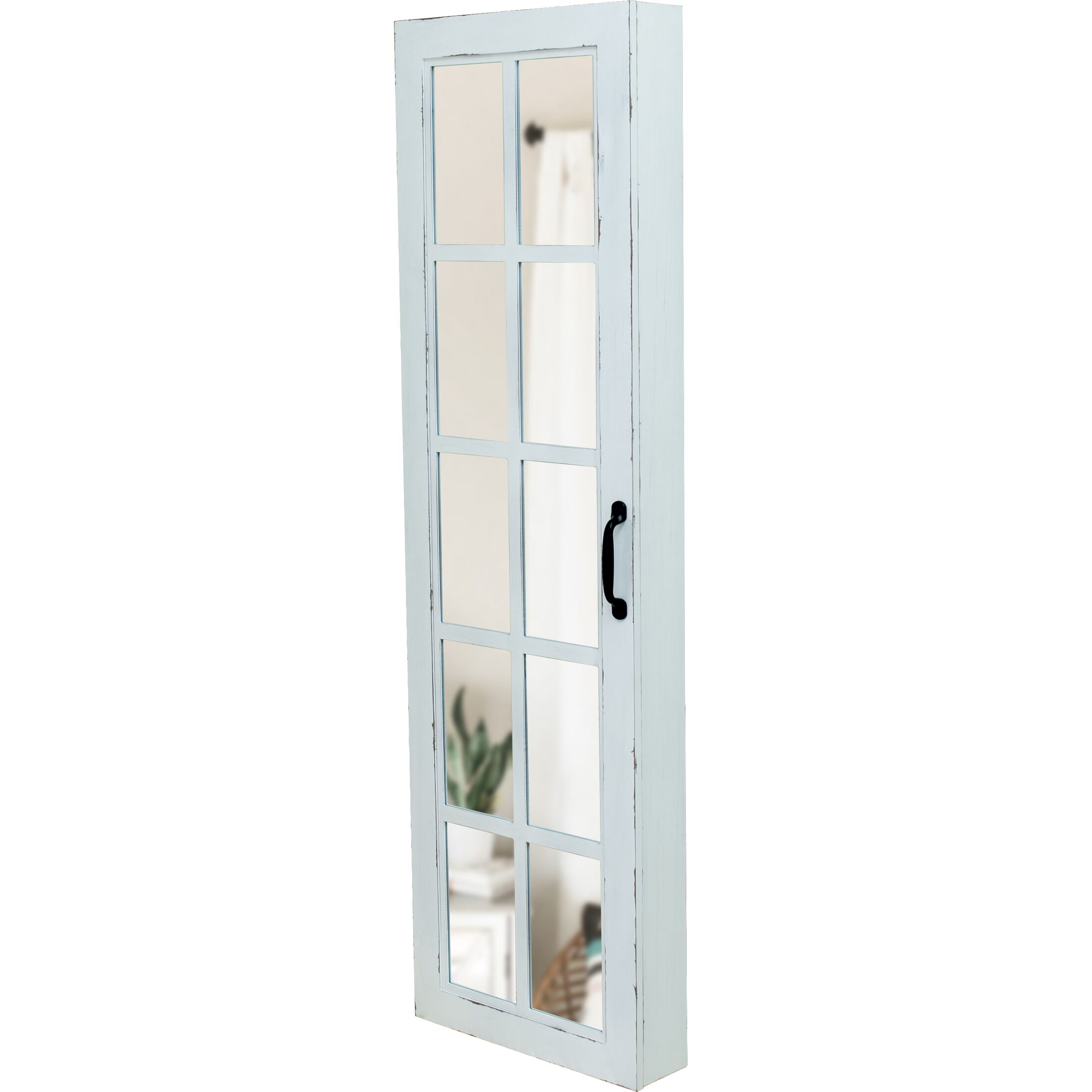 Kurtis Window Over The Door Jewelry Armoire with Mirror Color: Aged White
