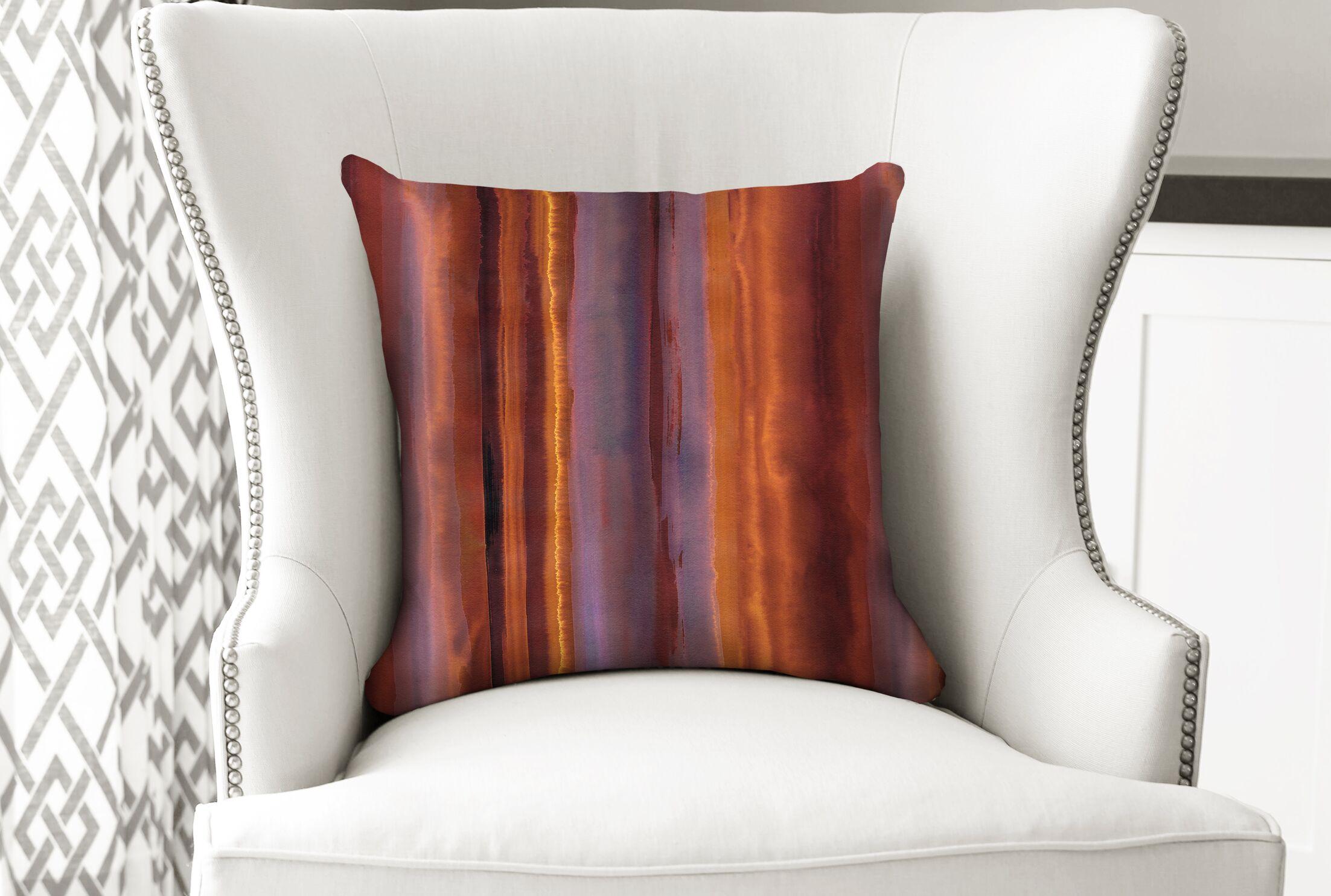 Hadley Wildfire Stripe Throw Pillow Size: 26