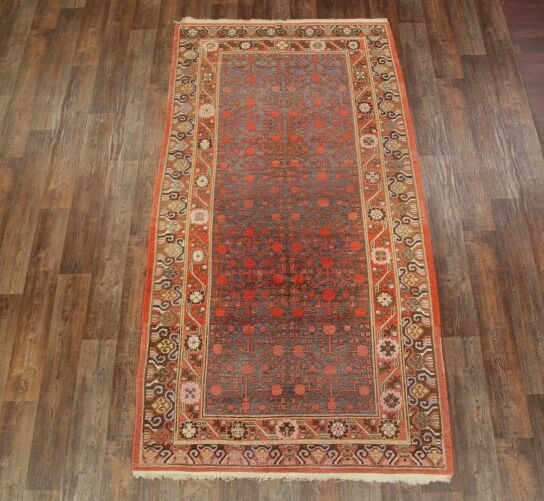 One-of-a-Kind Kendal Turkestan Oriental Hand-Knotted Wool Red/Beige Area Rug