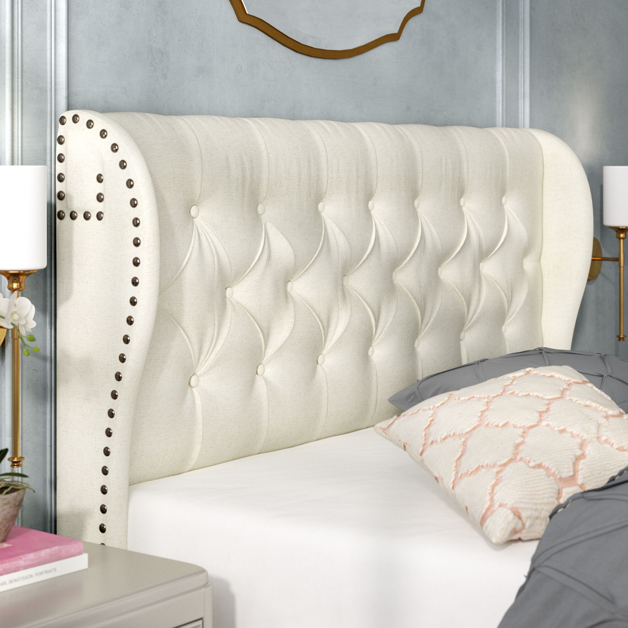 Bretagne Tufted Cornstarch Upholstered Wingback Headboard Size: Full/Queen