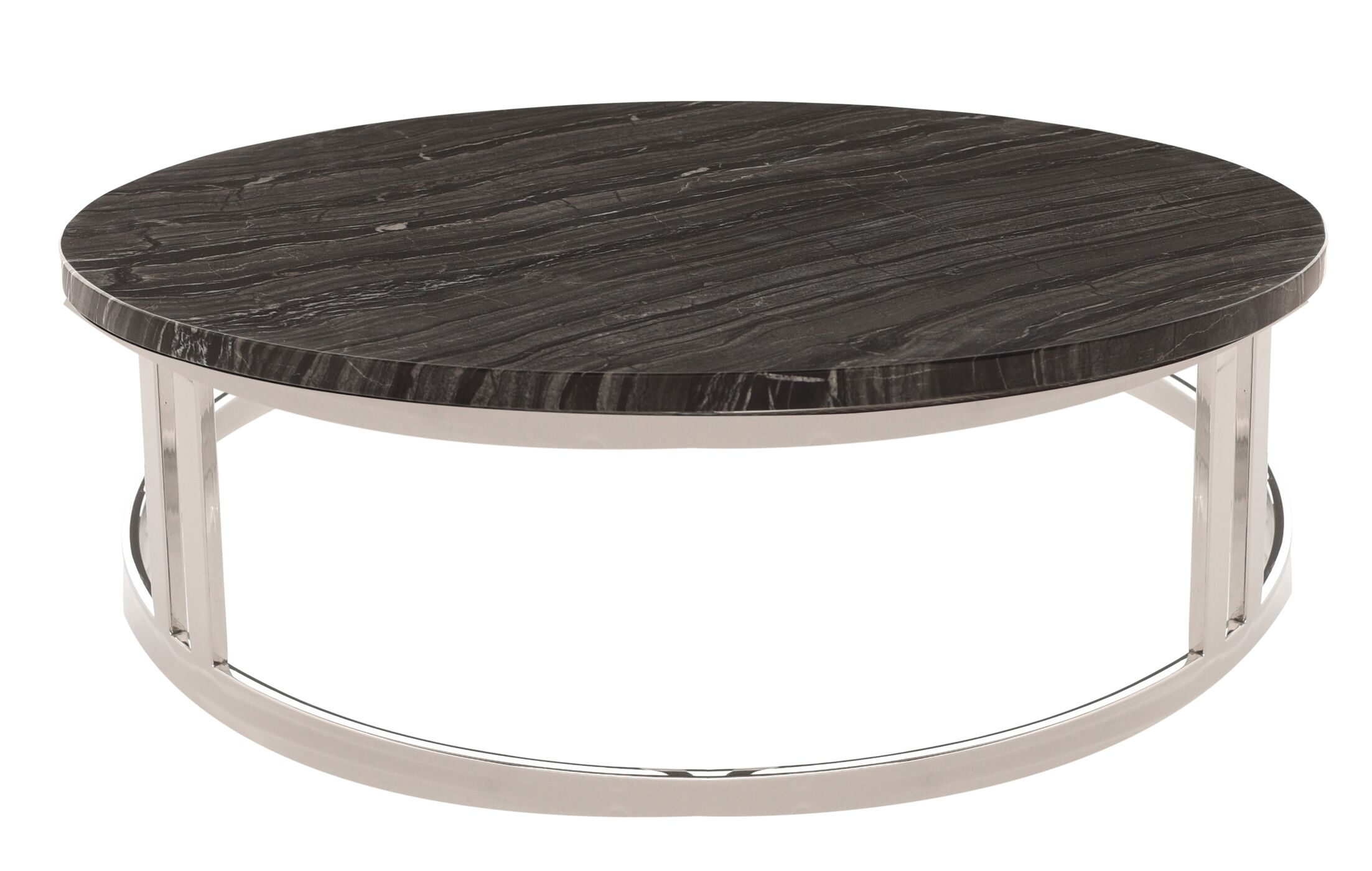 Noriega Coffee Table Table Top Color: Black, Table Base Color: Silver