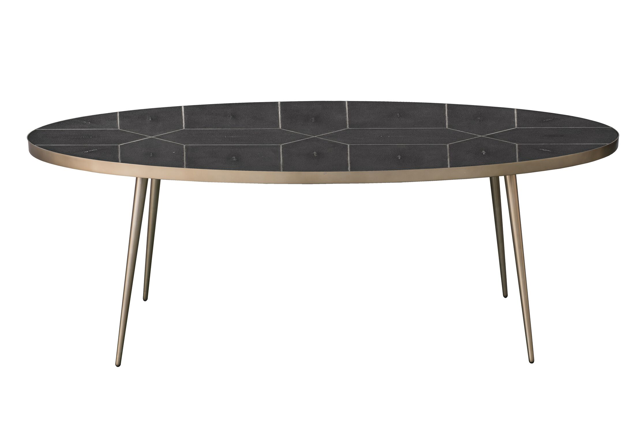 German Coffee Table Table Top Color: Black, Table Base Color: Brass