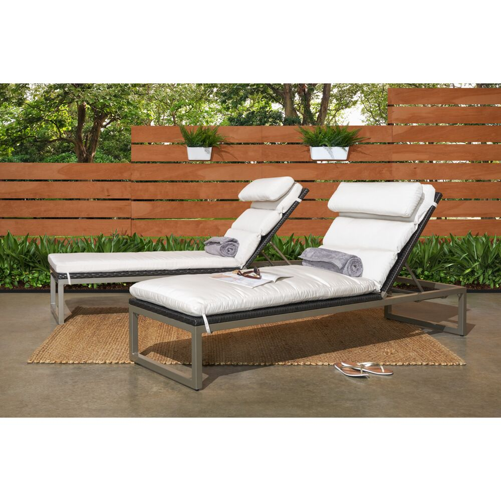 Gary Reclining Chaise Lounge with Cushion Cushion Color: Moroccan Cream, Frame Color: Gray