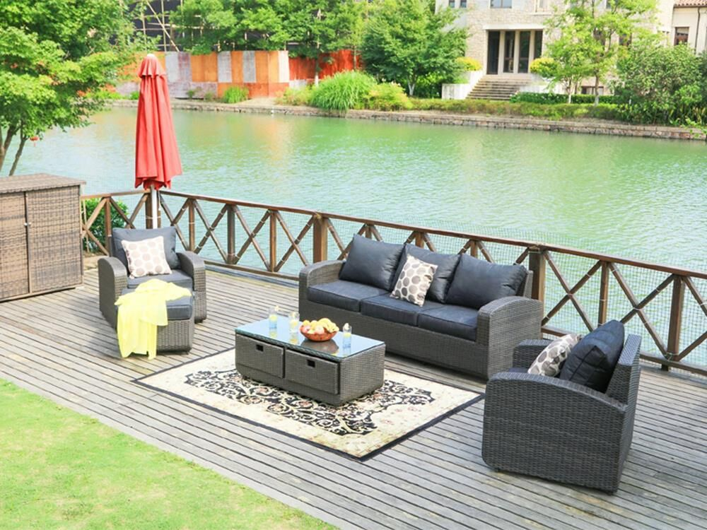 Castro 5 Piece Rattan Sofa Set with Cushions Frame Finish: Brown