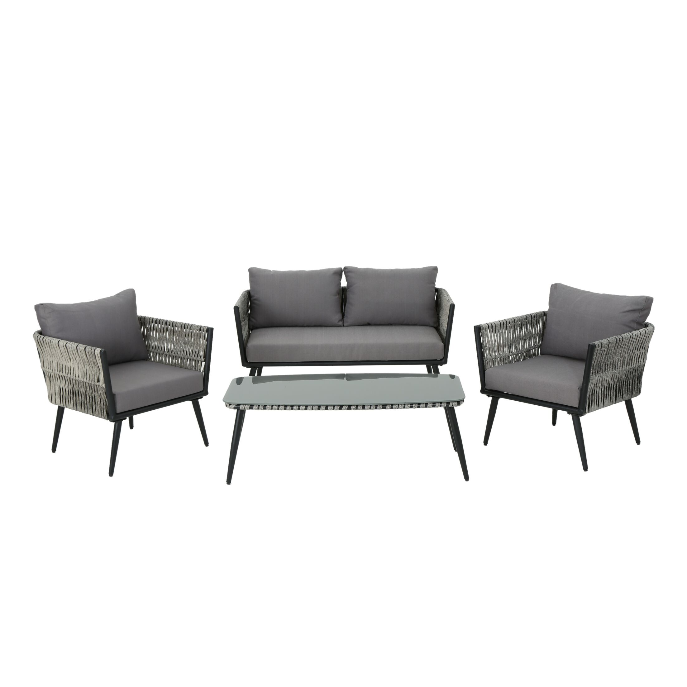 Liberatore 4 Piece Seating Group with Cushions Cushion Color: Dark Gray