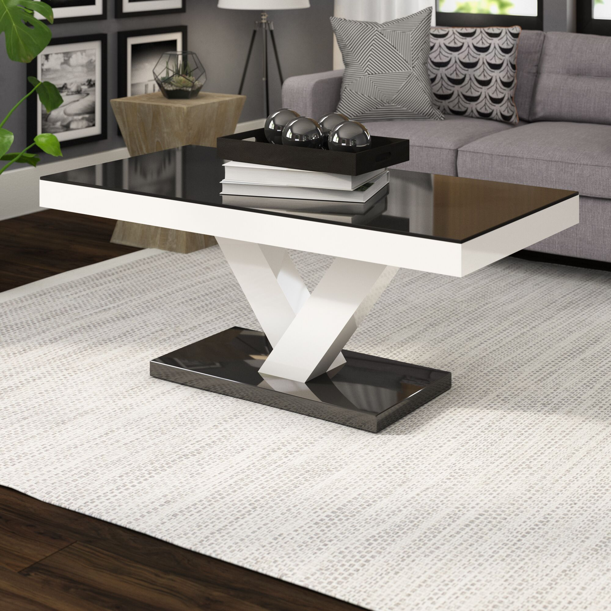 Thurmont Cross Legs Coffee Table Color: Black/White