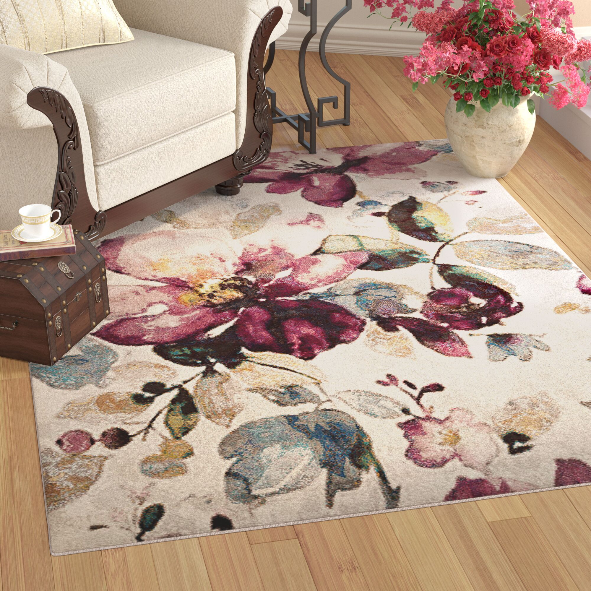 Mcpeters Floral Garden Ivory/Purple Area Rug Rug Size: Rectangle 7'10