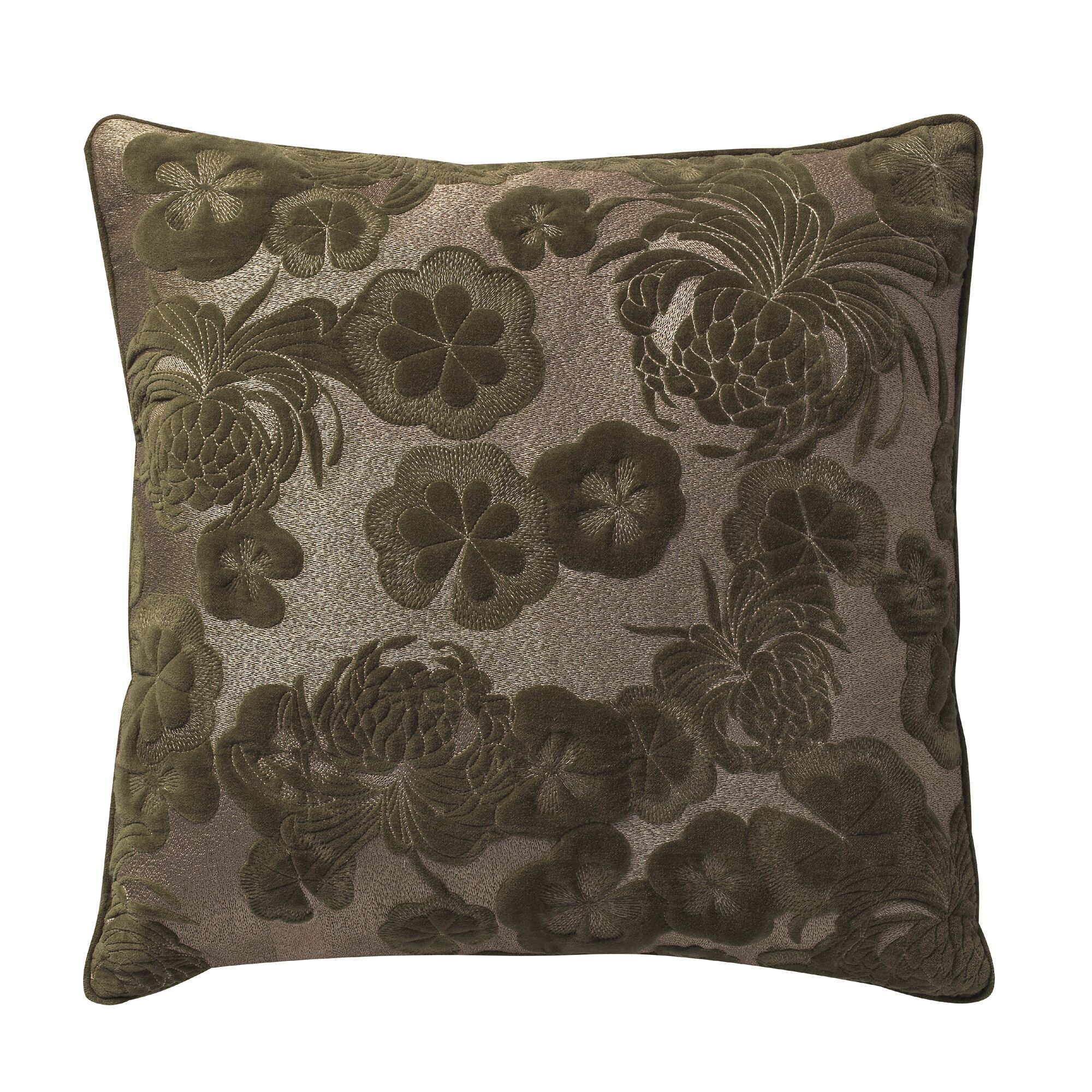 Sweet Velvet Floral Embroidery Deco Cotton Throw Pillow Color: Green