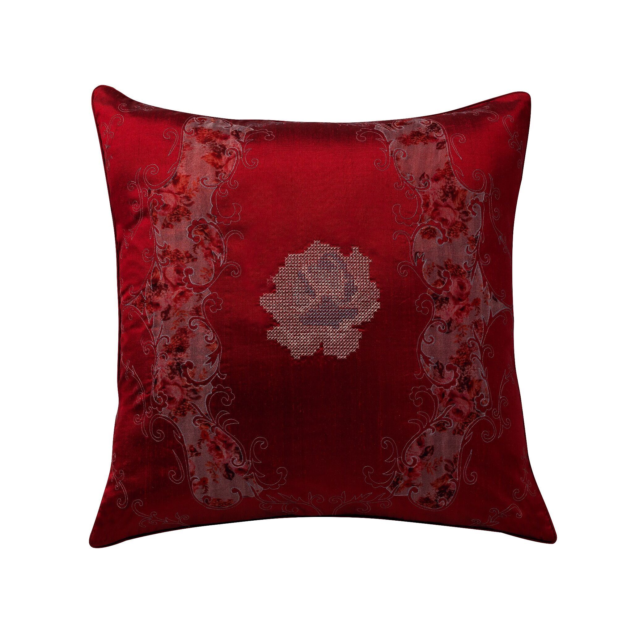 Juanita Deco Silk Throw Pillow Color: Ruby