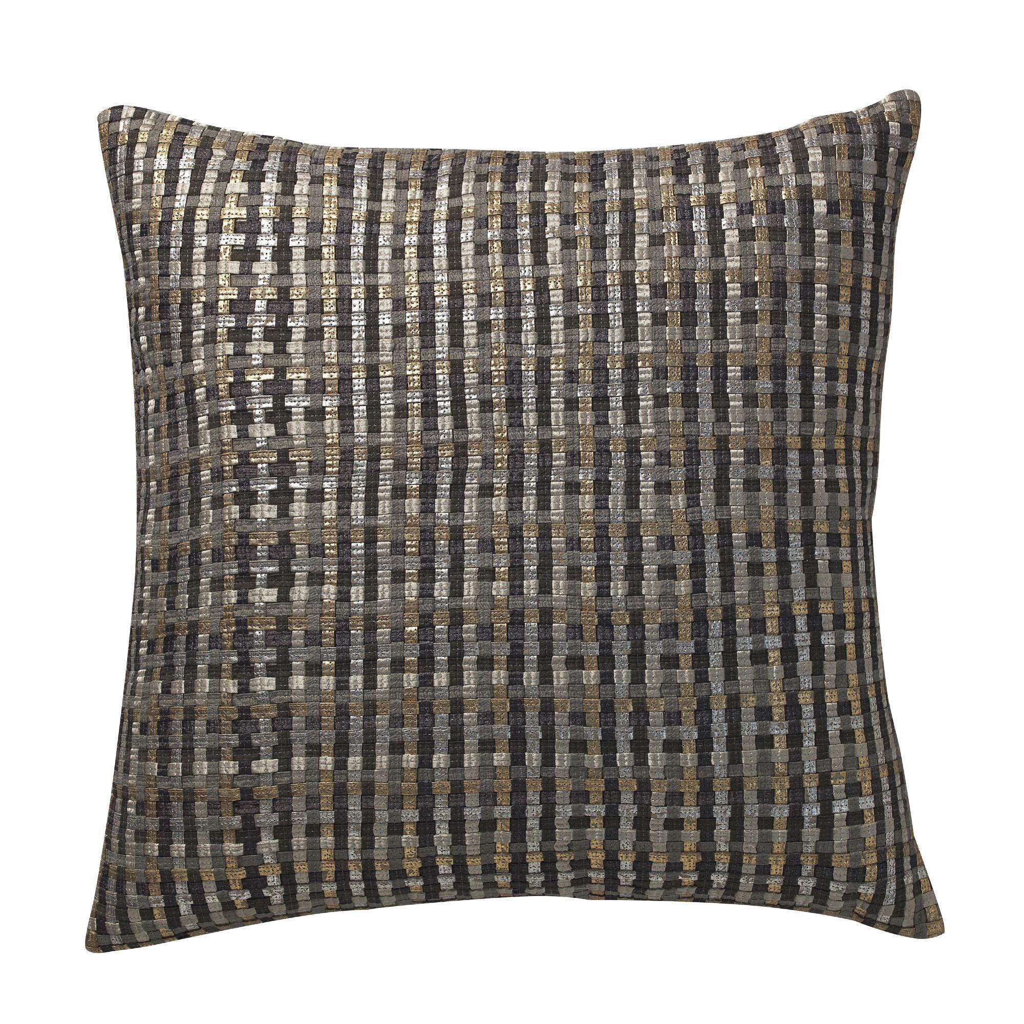 Grijalva Basket Weave Deco Throw Pillow Color: Silver