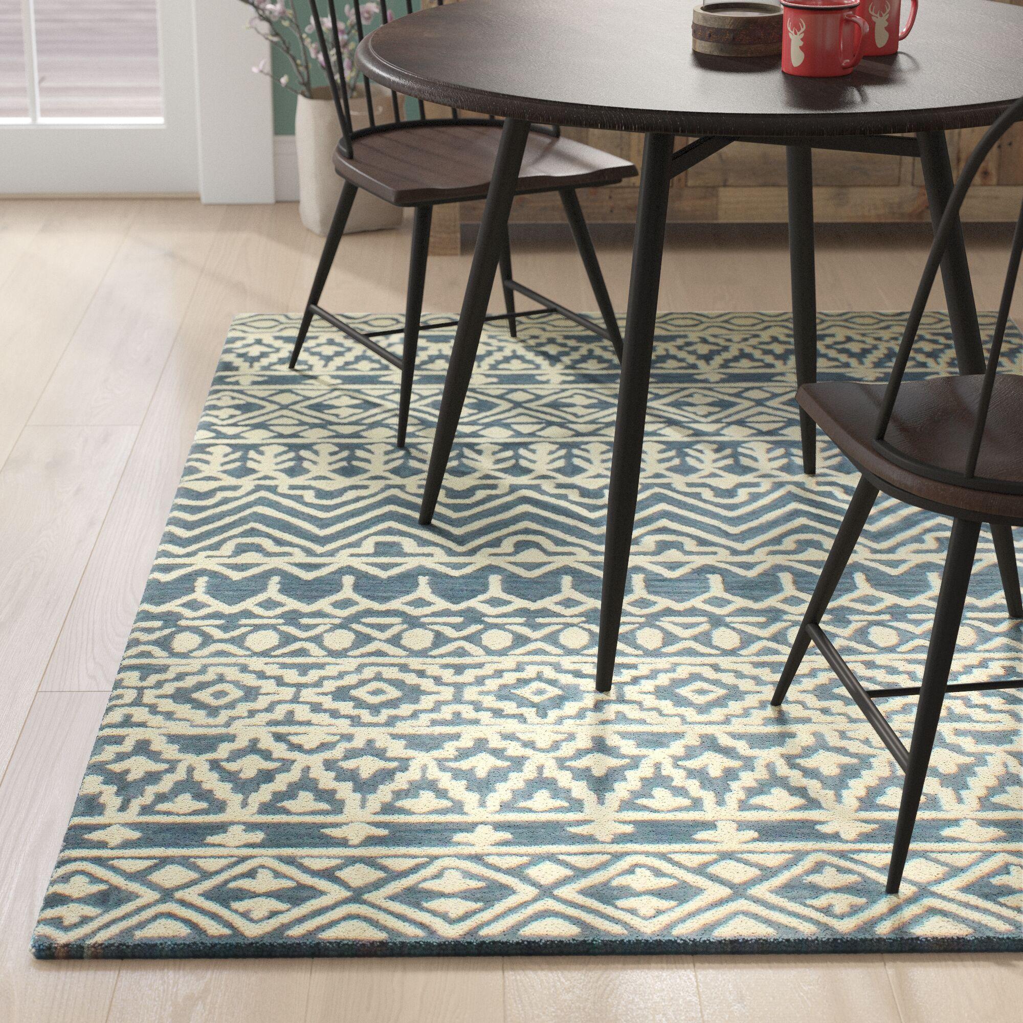 Peterman Hand-Tufted Wool Azure Area Rug Rug Size: 9' x 12'