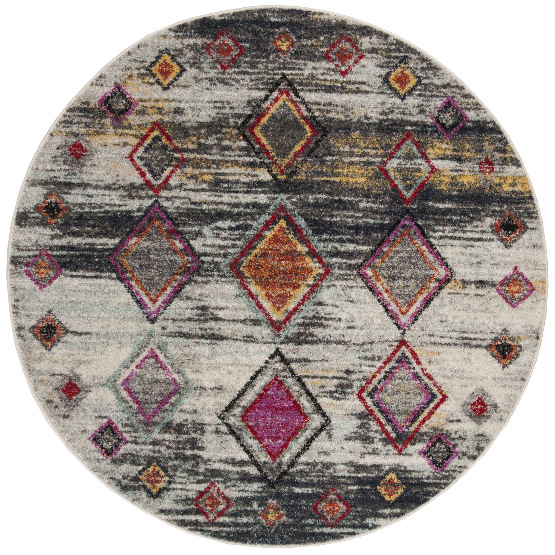 Muniz Light Gray/Red Area Rug Rug Size: Round 6' x 6'