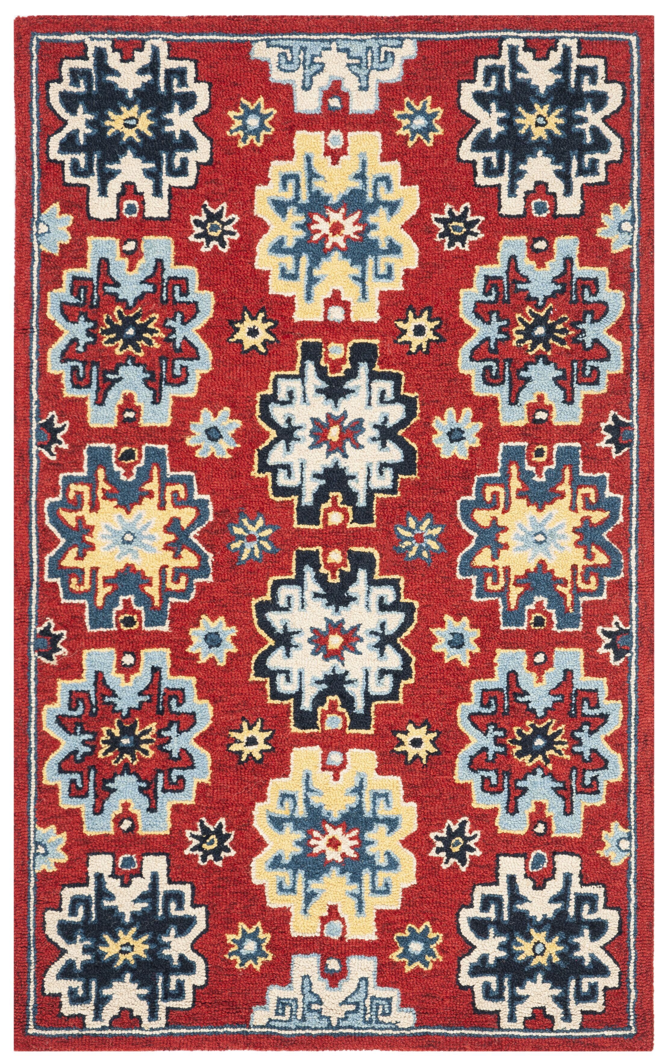 Betsy Hand-Tufted Wool Red/Blue Area Rug Rug Size: Rectangle 4' x 6'