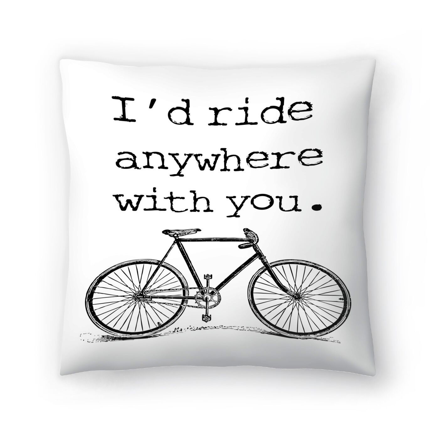 Bicycle Ride Anywhere Black Throw Pillow Size: 16