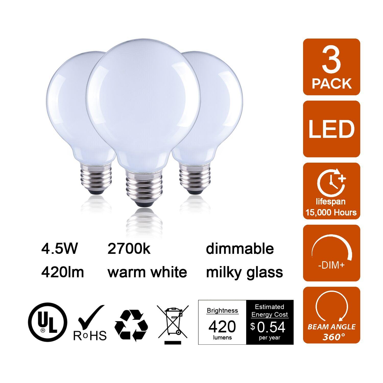 40W E26 Dimmable LED Globe Light Bulb