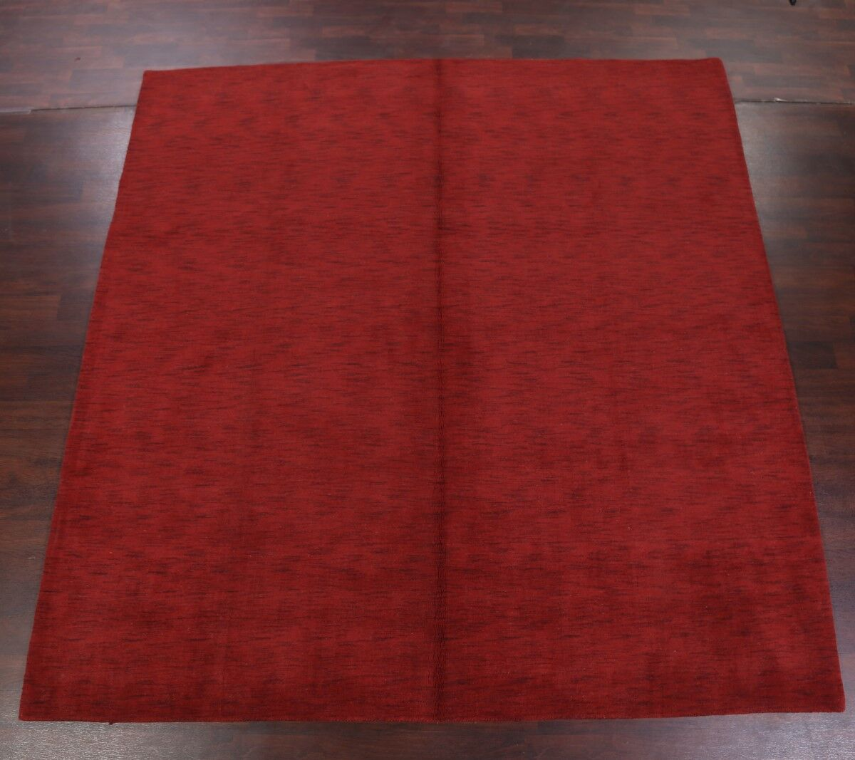 One-of-a-Kind Fortune Indian Oriental Hand-Knotted Wool Red Area Rug
