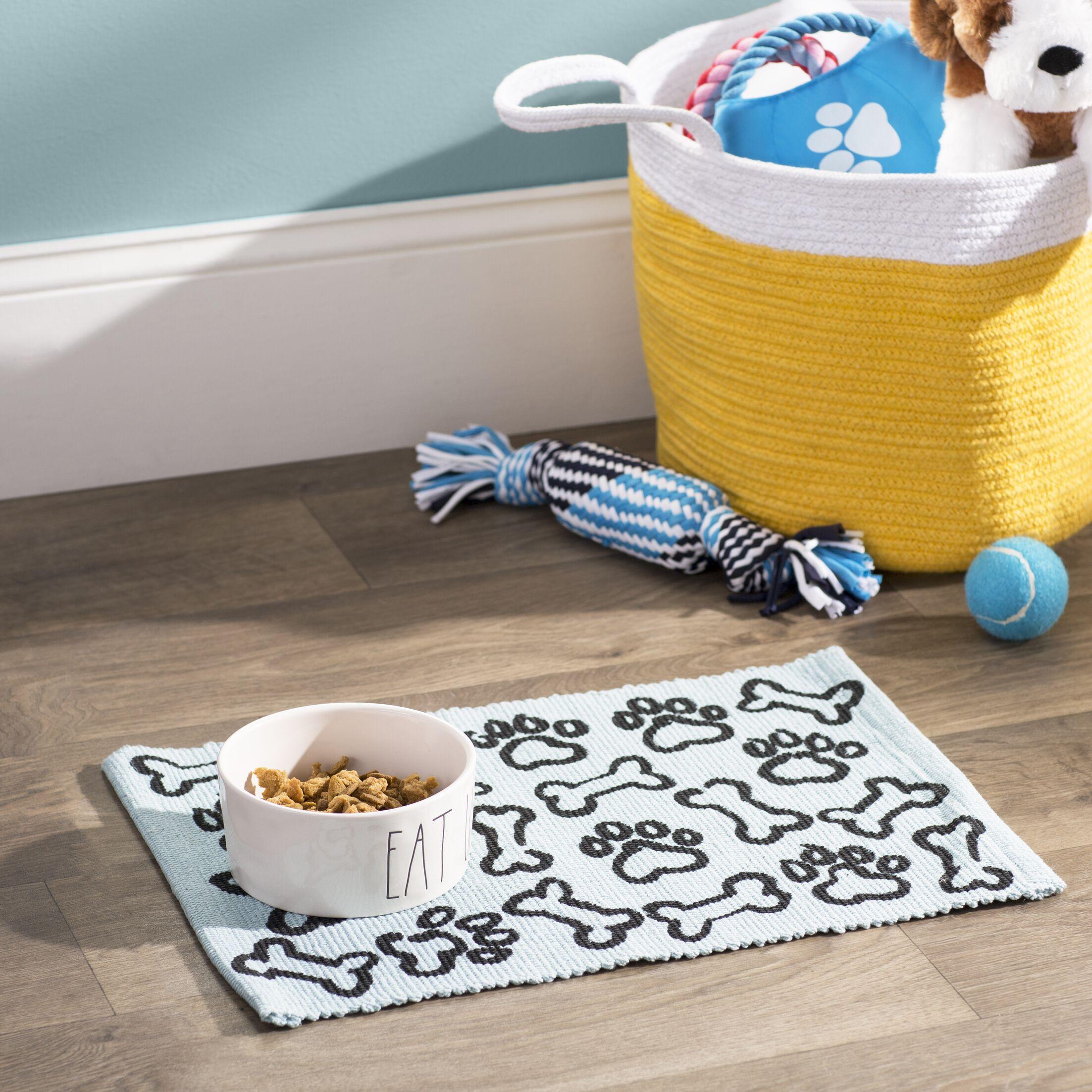 Isabella Puppy Paws Cotton Pet Mat Color: Aqua/Black, Size: 19