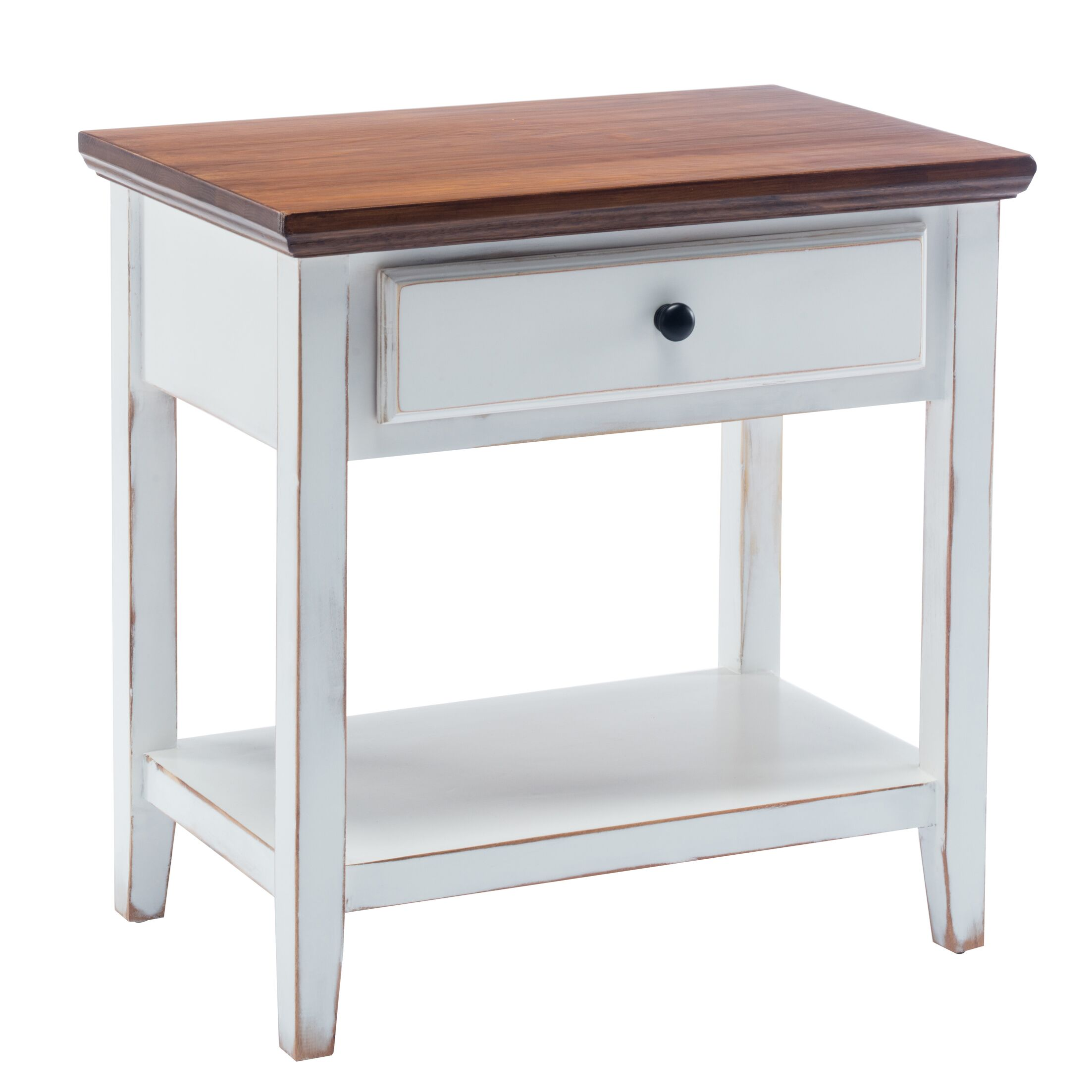 Aahil Deluxe Drawer Shelf End Table Table Base Color: White