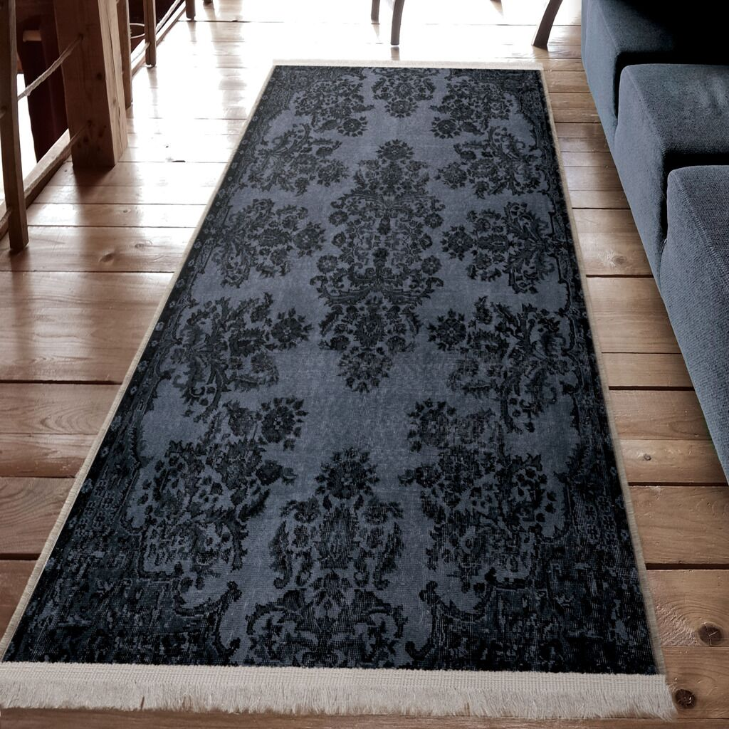 Parrott Charcoal Gray Area Rug with White Fringe Rug Size: Runner 3' x 8'