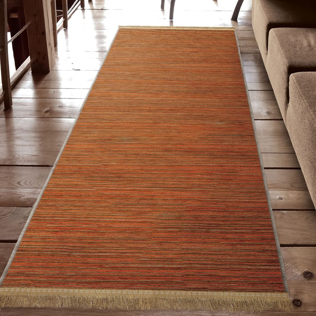 Shipley Harvest Orange Area Rug with Beige Fringe Rug Size: Runner 3' x 8'