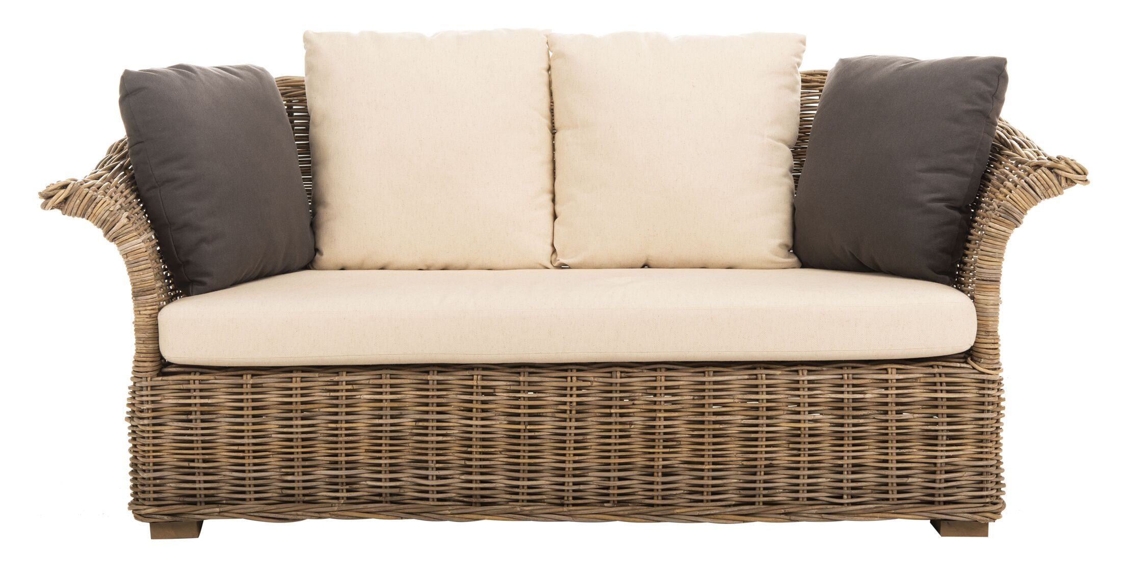 Io Loveseat with Cushions Frame Color: Gray, Cushion Color: Brown/Beige