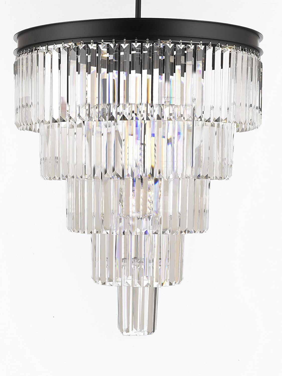 Aurelio Palladium Glass Fringe 5 Tier 12-Light LED Crystal Chandelier