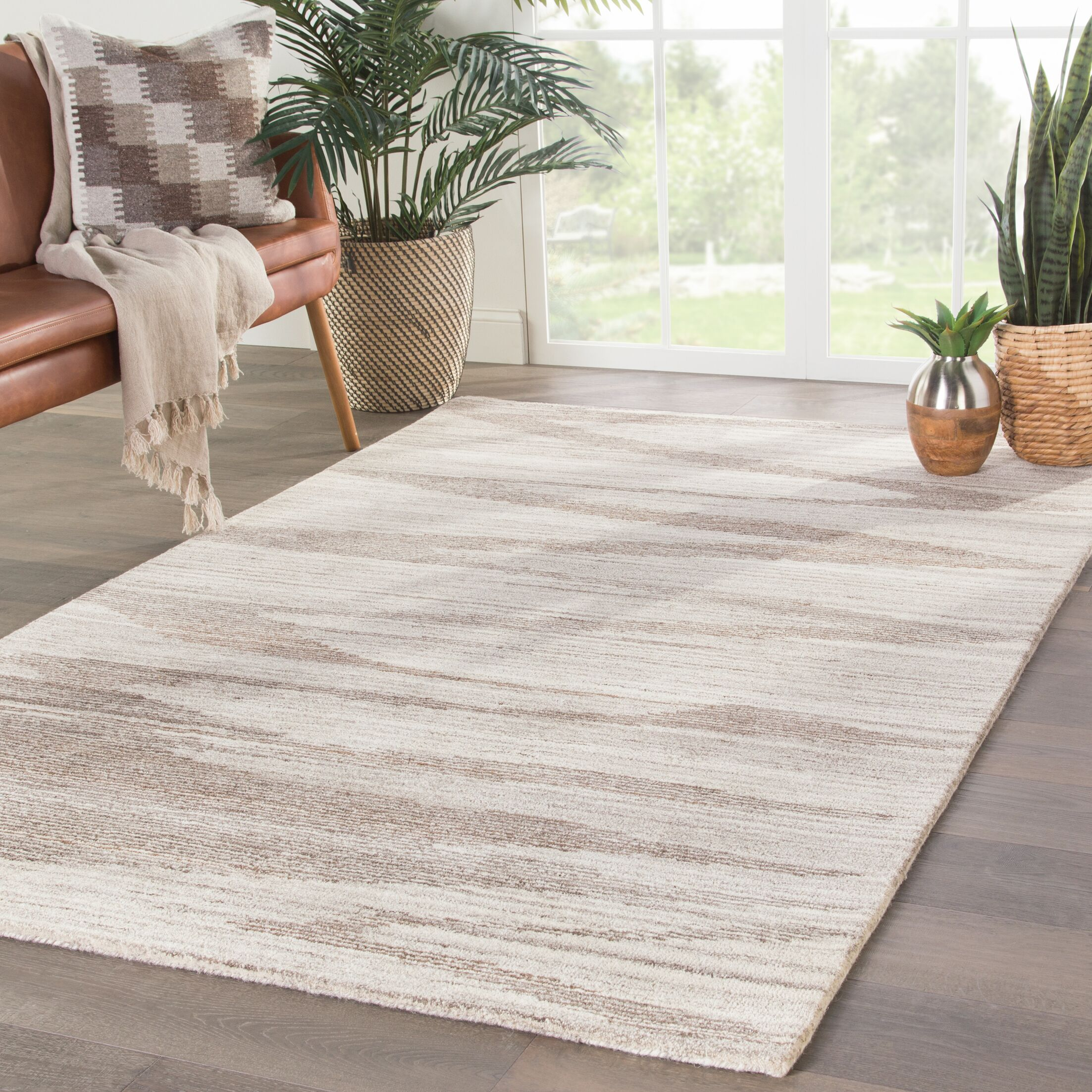 Paquette Hand-Tufted Wool Beige/Brown Area Rug Rug Size: Rectangle 2' x 3'