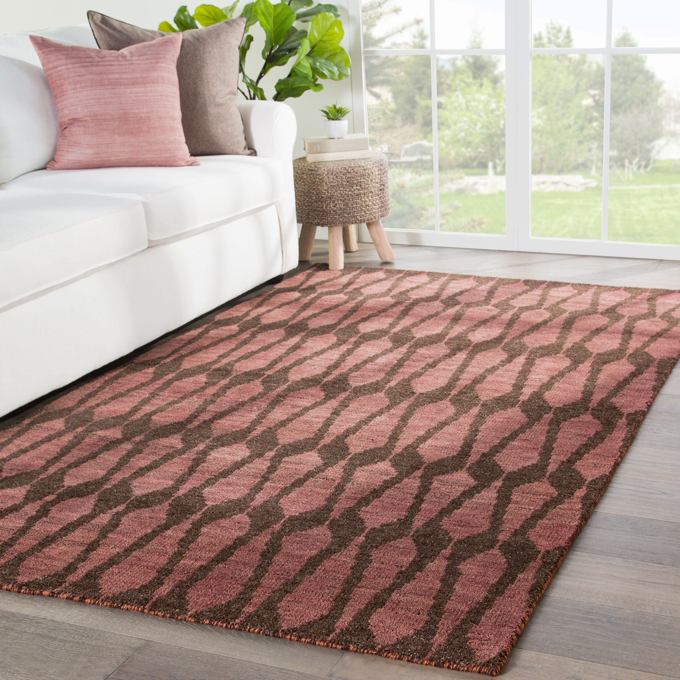 Fielding Hand-Knotted Wool Brown/Red Area Rug Rug Size: Rectangle 8'6