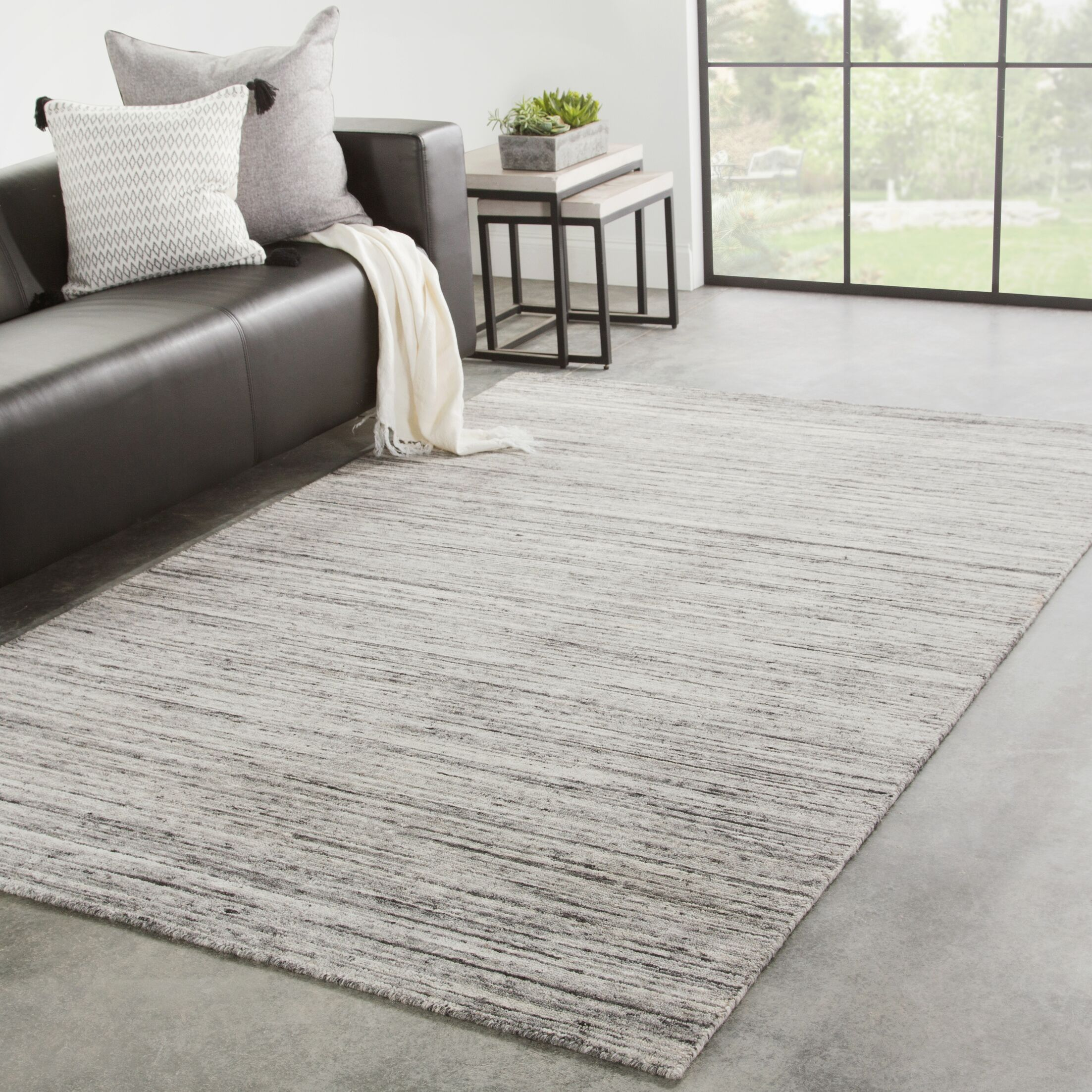 Padgett Hand-Loomed Wool Gray/Beige Area Rug Rug Size: Rectangle 8'6