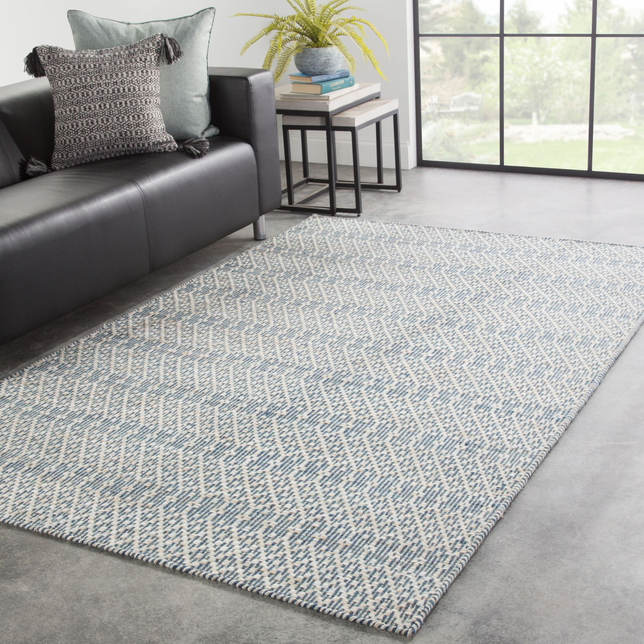 Dowling Handwoven Flatweave Wool Blue/Beige Area Rug Rug Size: Rectangle 7'10