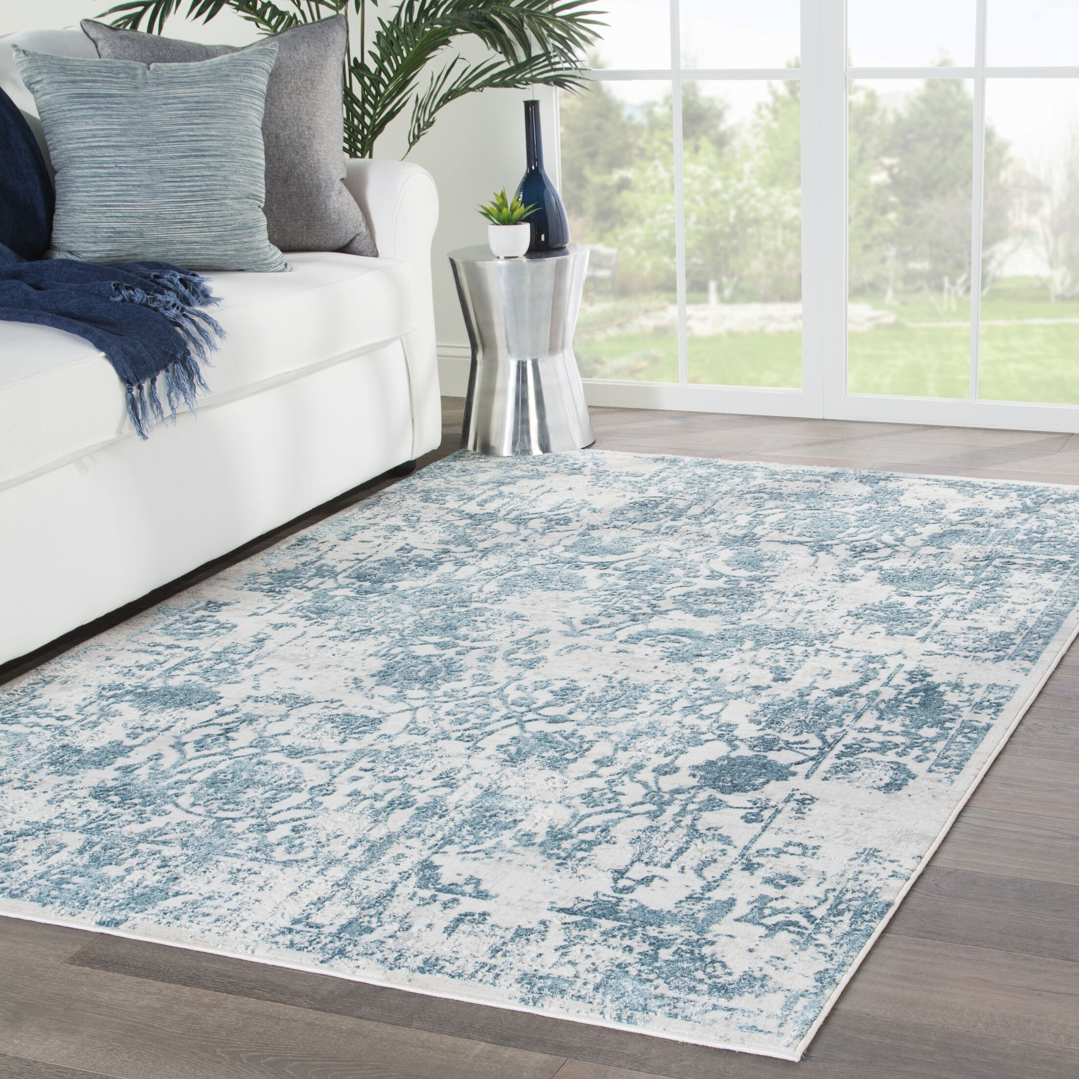 Dowdy Blue/Beige Area Rug Rug Size: Rectangle 7'6