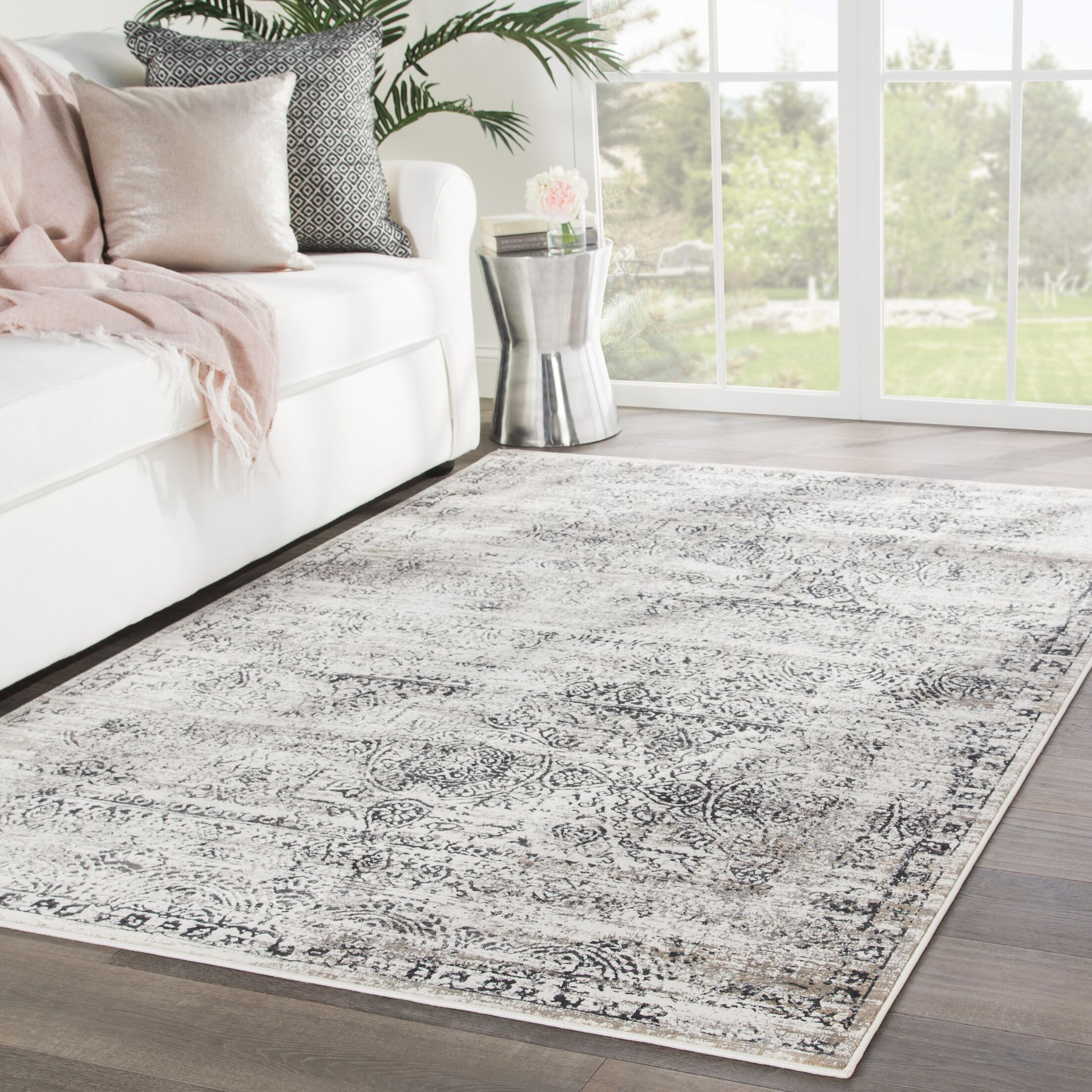 Farview Beige/Gray Area Rug Rug Size: Rectangle 7'6