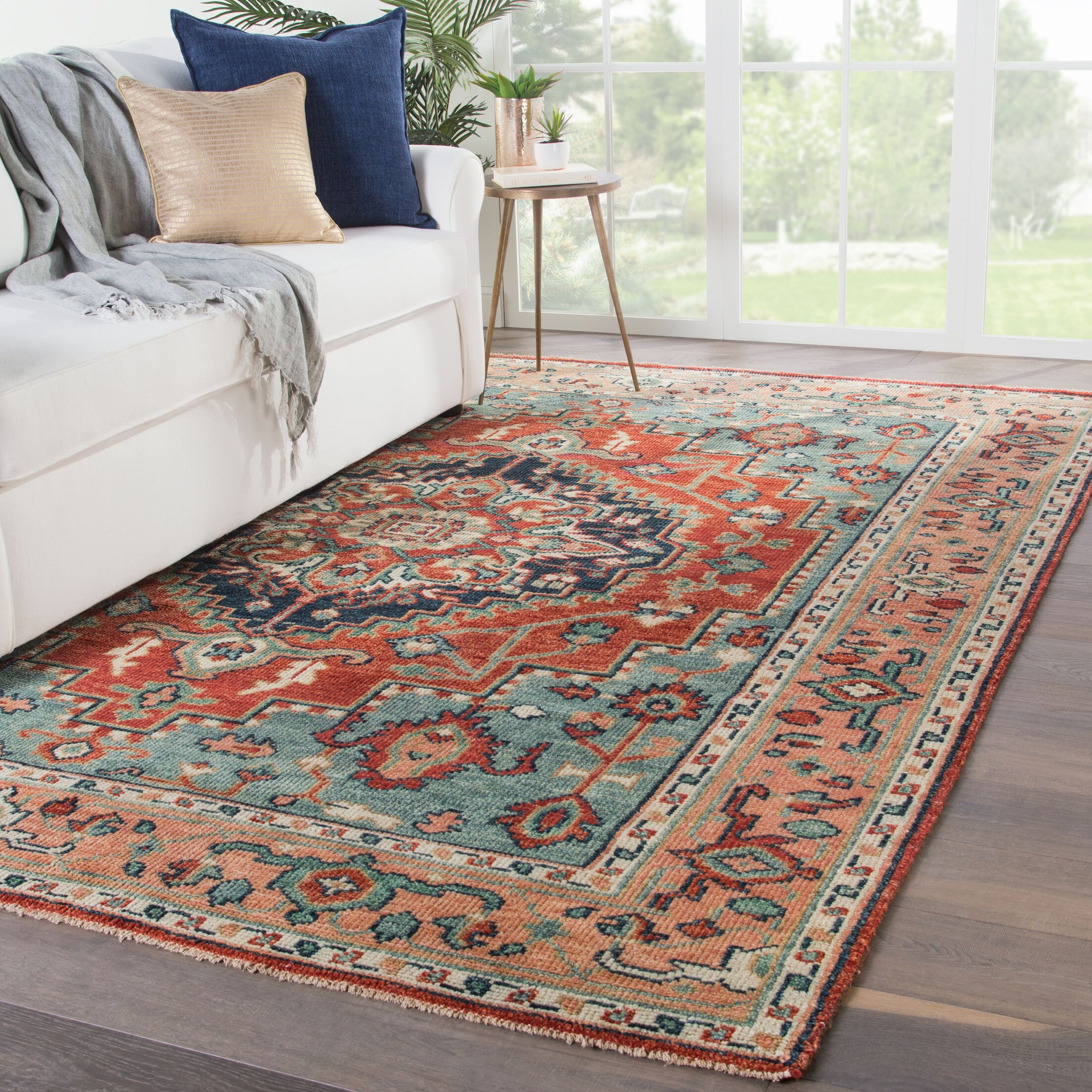 Ed Hand-Knotted Wool Red/Blue Area Rug Rug Size: Rectangle 6' x 9'