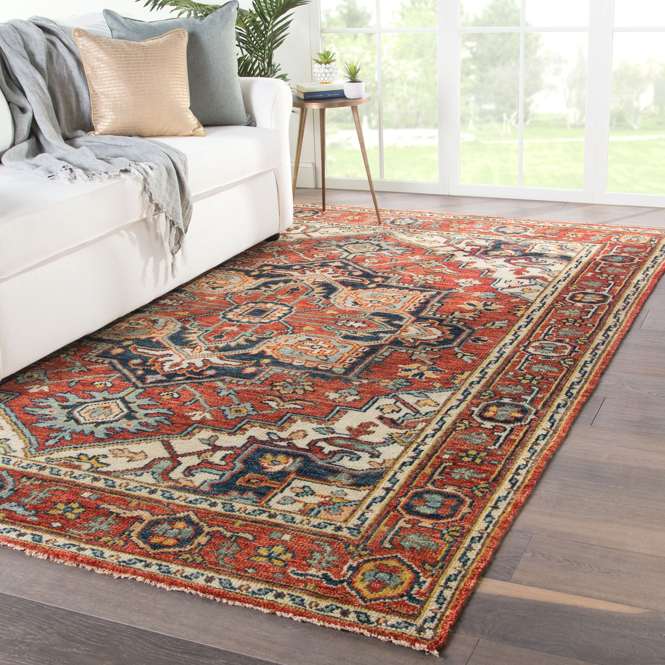 Dannie Hand-Knotted Wool Red/Beige Area Rug Rug Size: Rectangle 7'9