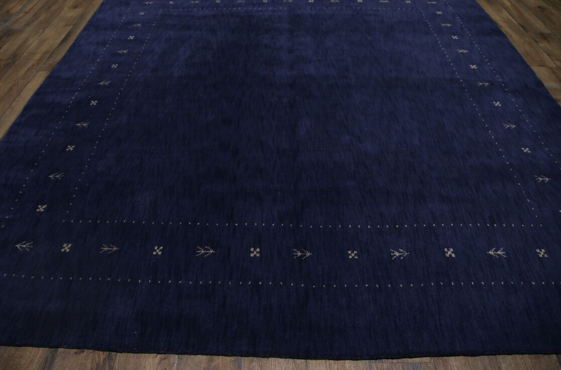 One-of-a-Kind Seidman Oriental Hand-Woven Wool Navy Area Rug